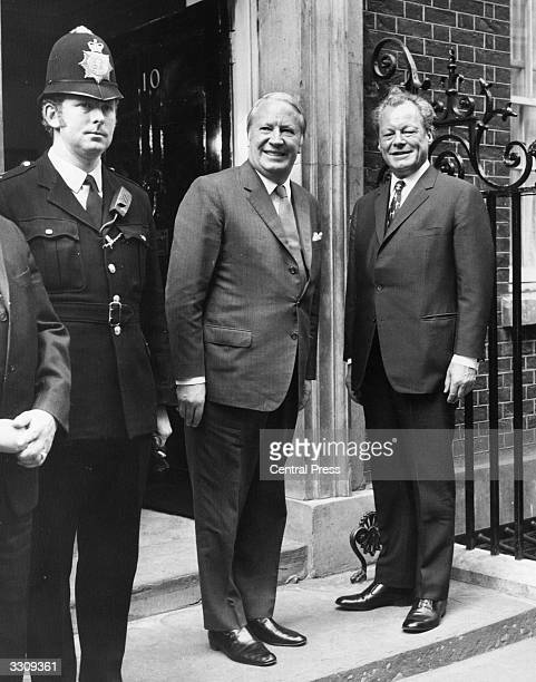 West German Chancellor Willy Brandt meets British Prime Minister Edward Heath at 10 Downing Street London