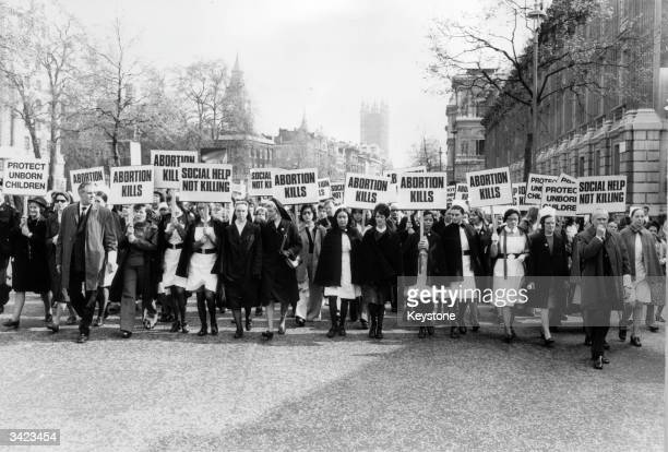Nurses leading marchers at an antiabortion rally organised by the Society for the Protection of Unborn Children in London