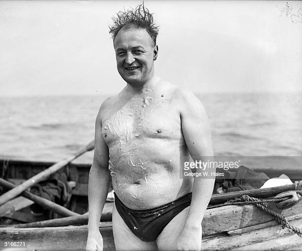 Mr Hayden Taylor a dentist by trade prepares for his latest attempt to swim across the English Channel to France in record time A year before he had...