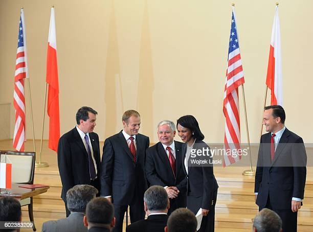 A visit of United States Secretary of State Condoleezza Rice in Warsaw Poland on August 20th 2008 Pictured from the right Polish Foreign Minister...