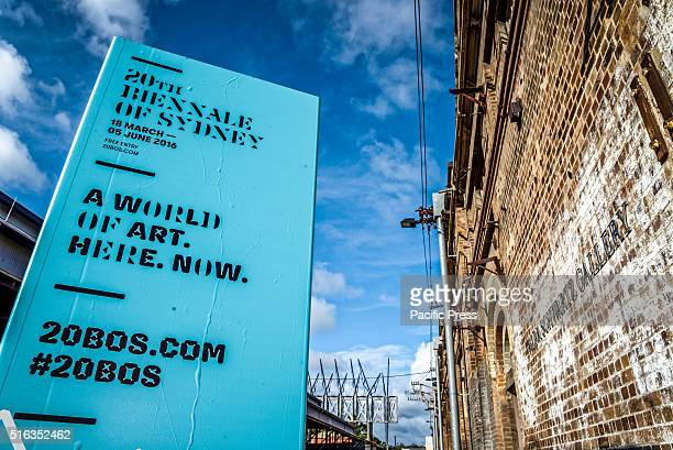 ISLAND SYDNEY NSW AUSTRALIA 20th Biennale of Sydney signage at Carriageworks Embassy of Disappearance during the media preview for Biennale of Sydney...