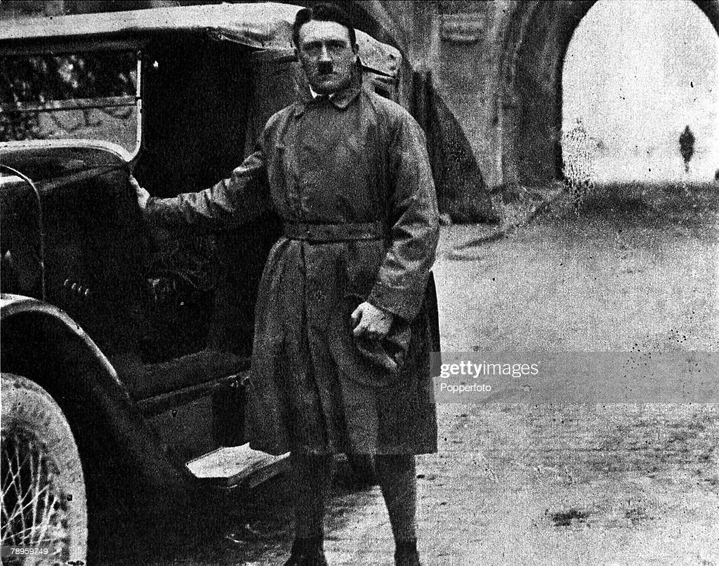 20th December 1924 Germany A picture of Adolf Hitler the German fascist dictator leaving prison at LandsbergamLech after being held for attempting to...