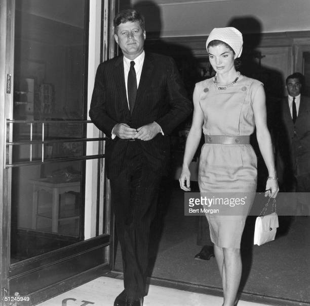 20th December 1961 United States President John F Kennedy and First Lady Jacqueline Kennedy leave St Mary's Hospital Palm Beach Florida