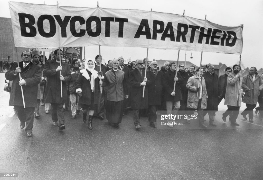 Antiapartheid marchers including David Sheppard Bishop of Woolwich and Anne Kerr MP Methodist preacher and christian socialist Lord Donald Soper and...