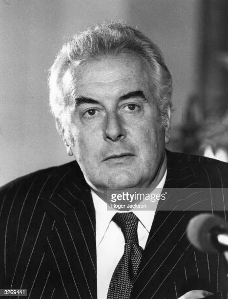 Gough Whitlam the Australian prime minister at a conference at Australia House in London