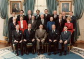 Group portrait of American President Ronald Reagan with his Cabinet in the Blue Room of the White House Washington DC Front row LR D T ReganG Bush...