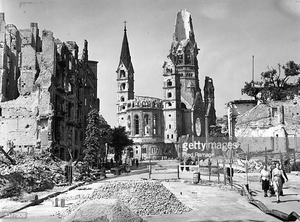 The ruins of the famous Tauenzien Strasse and the Kaiser Wilhelm Memorial Church in Berlin following Hitler's defeat in World War II