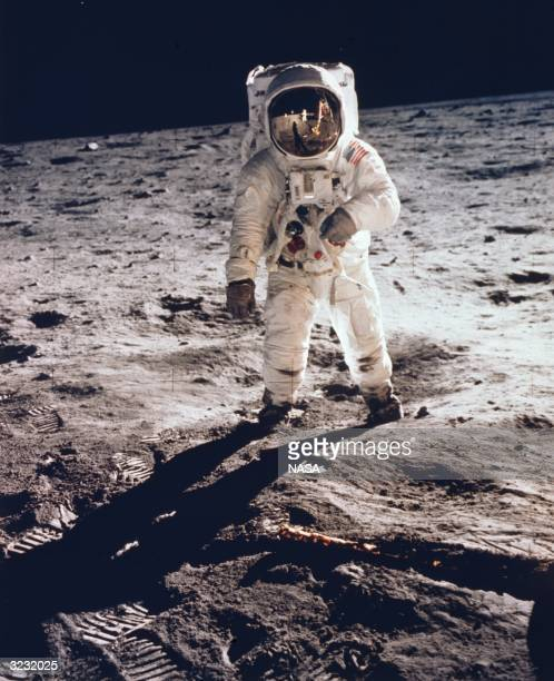 American astronaut Edwin 'Buzz' Aldrin becomes the second man to walk on the moon during the Apollo 11 mission