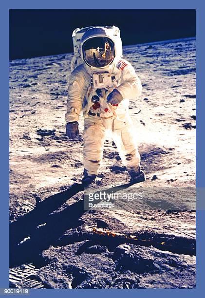 Apollo 11 astronaut Edwin Aldrin walking on the moon