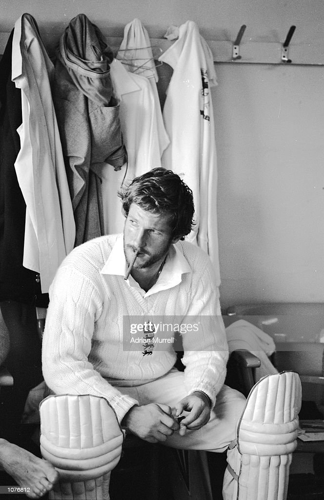Ian Botham of England smokes a cigar in the changing room after his matchwinning 149 not out during the third Test Match against Australia at...