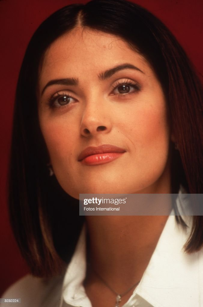 Headshot of Mexican actor Salma Hayek smiling, Beverly Hills, California.