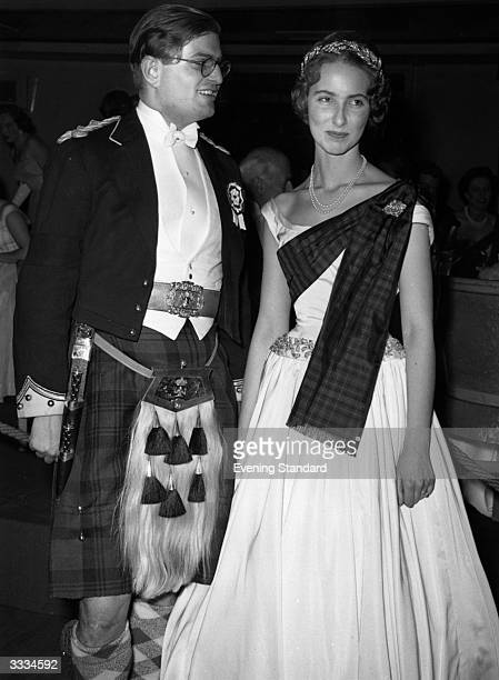 The Earl and Countess of Mansfield dressed in traditional Scottish garb at the Royal Caledonian Ball