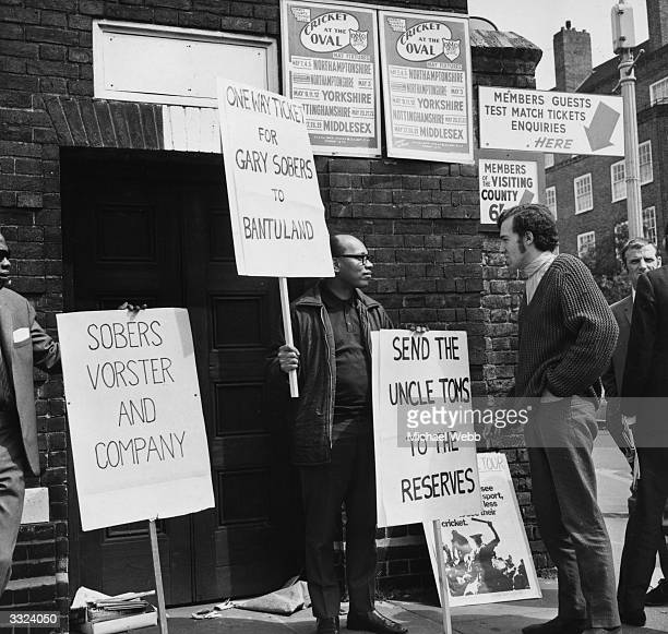 Peter Hain leader of the campaign to stop the South African tour talks to one of the demonstrators in the demo against against West Indian cricketer...