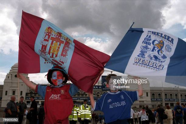 20th May 2000 Wembley London AXA FA Cup Final Chelsea 1 v Aston Villa 0 Young fans of Aston Villa and Chelsea with their flags outside Wembley Stadium