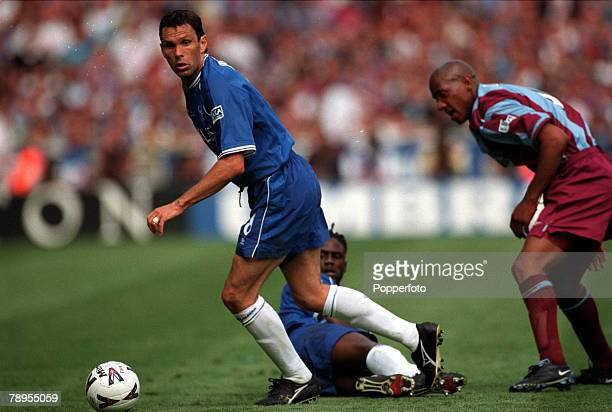 20th May 2000 Wembley London AXA FA Cup Final Chelsea 1 v Aston Villa 0 Chelsea's Gustavo Poyet is closely watched by Aston Villa's Dion Dublin