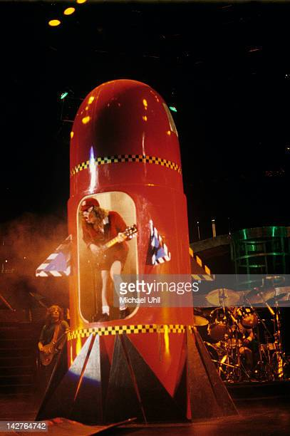 Angus Young of AC/DC performing live on stage inside a mock up rocket at the Brendan Byrne Arena in East Rutherford New Jersey on May 20th 1988