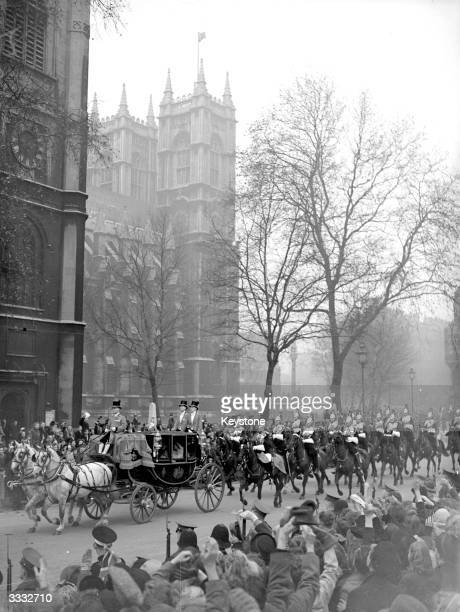 Princess Elizabeth and Prince Philip leaving Westminster Abbey London in a horsedrawn carriage after their wedding ceremony