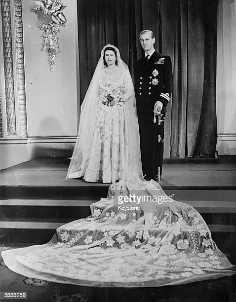 Princess Elizabeth and the Duke of Edinburgh at Buckingham Palace London after their wedding ceremony at Westminster Abbey