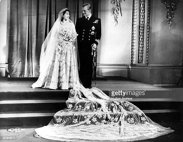Princess Elizabeth and The Prince Philip Duke of Edinburgh at Buckingham Palace after their wedding
