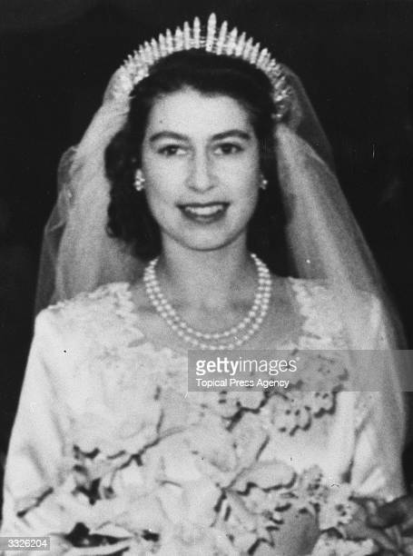 Princess Elizabeth leaving Westminster Abbey after her wedding to The Prince Philip Duke of Edinburgh