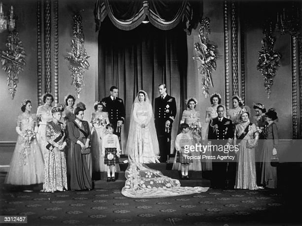 Princess Elizabeth Prince Philip Duke of Edinburgh with King George VI and Queen Elizabeth and members of the immediate and extended Royal Family at...