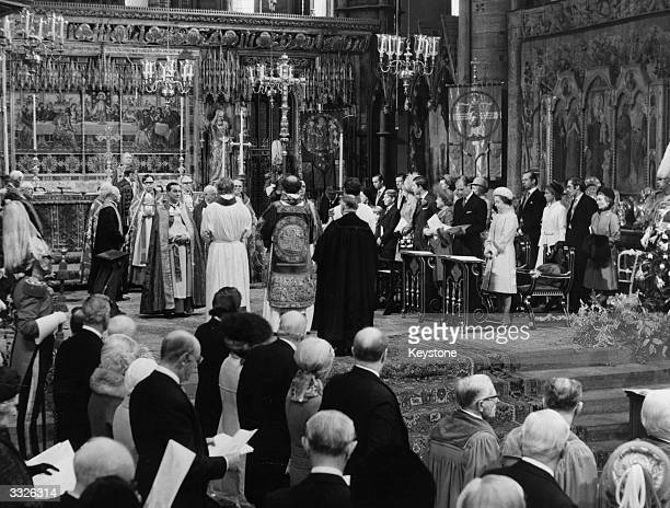 Queen Elizabeth II and Prince Philip the Duke of Edinburgh with other members of the Royal Family during a Service of Thanksgiving at Westminster...