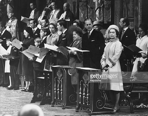 Queen Elizabeth II and The Prince Philip Duke of Edinburgh with Queen Elizabeth The Queen Mother Prince Charles Princess Anne and other members of...