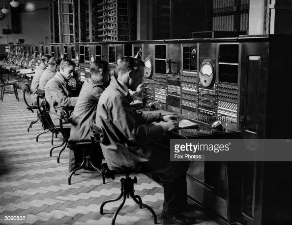 Telephone exchange operators at their desks in Mayfair London