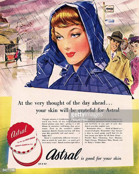 A woman's face is protected from the elements by Astral Skin Cream which 'beautynurses' and nourishes the skin Original Publication Picture Post Ad...