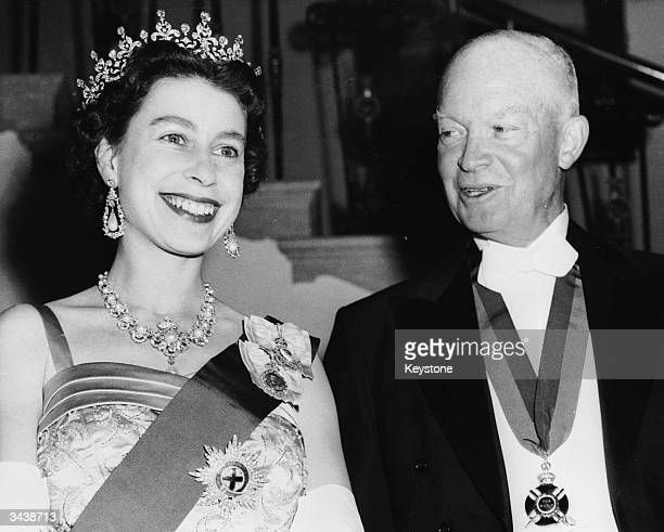Queen Elizabeth II with US president Dwight D Eisenhower at a White House State banquet Eisenhower is wearing the British Order of Merit awarded him...
