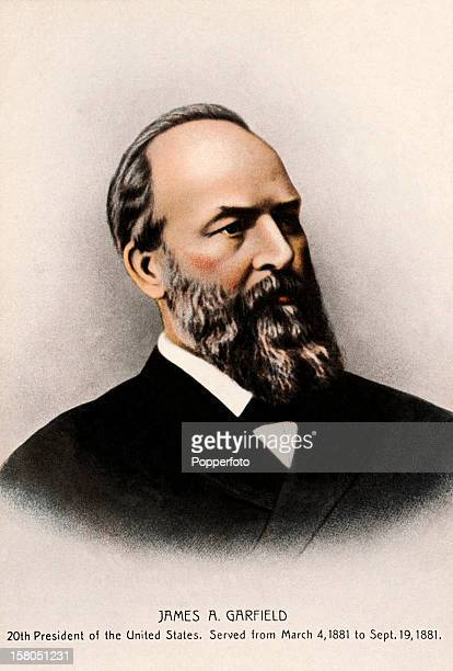 20th President of the United States James A Garfield featured on a vintage colour postcard published circa 1900 Garfield served as president of the...