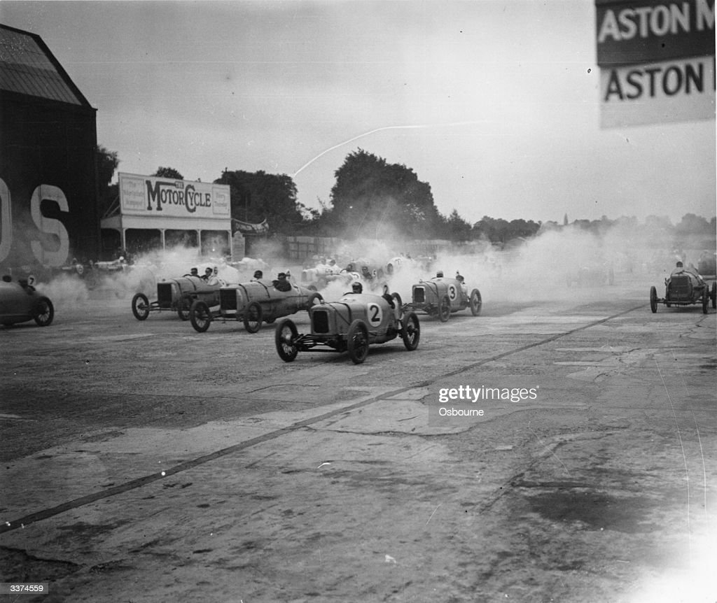 Start of the Junior Car Club's International 200 miles race at Brooklands. Nos 2 and 3 are Alvis cars and nos 4 & 6 Horstmann.