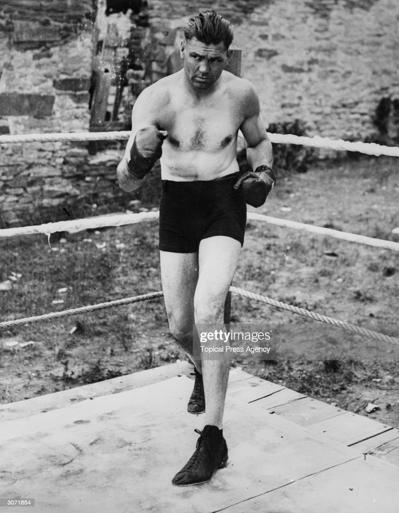 American world heavyweight boxing champion <a gi-track='captionPersonalityLinkClicked' href=/galleries/search?phrase=Jack+Dempsey+-+Boxer&family=editorial&specificpeople=15348667 ng-click='$event.stopPropagation()'>Jack Dempsey</a> (1895 - 1983) in Philadelphia before his fight against Gene Tunney.