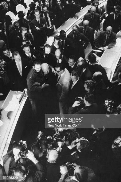 20th September 1960 Cuban premier Fidel Castro embraces Soviet premier Nikita Khrushchev on the floor of the United Nations before the opening...