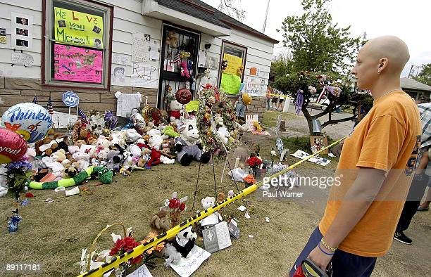 20yearold Emily Hepker of Hillsdale MI who has terminal lymphoma visits the childhood home of recently deceased pop star Michael Jackson at 2300...