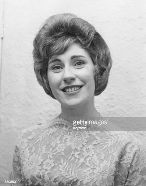 20yearold singer Teresa Duffy models a gown of pale blue Chantilly lace which she will wear to the Eurovision Song Contest 10th February 1961 She is...