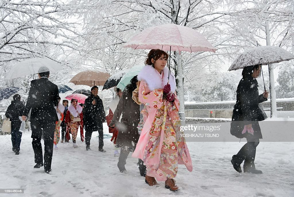 20-year-old women dressed in kimono walk on a snow covered street to attend a coming-of-age ceremony in Tokyo on January 14, 2013. A storm system grasped central Japan on January 14, causing heavy snow fall around the Japanese capital. AFP PHOTO / Yoshikazu TSUNO