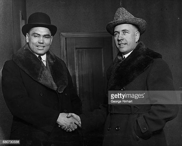 2/10/1919New YorkNY Jack Demsey contender for Heavyweight Boxing Title and his manager Jack Kearns on their arrival in New York City to sign articles...