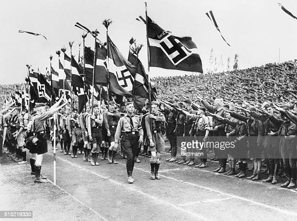 2/10/1934Berlin GermanyYoung fascists receive famous salute during a mass march in Berlin