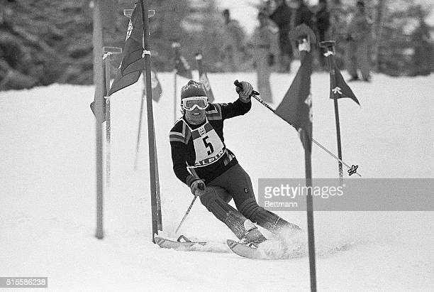 2/11/1976Axamer Lizum Austria West Germany's Rosi Mittermaier twists her way through a maze of gates in the Olympic Womens' Slalom course at Lizum on...