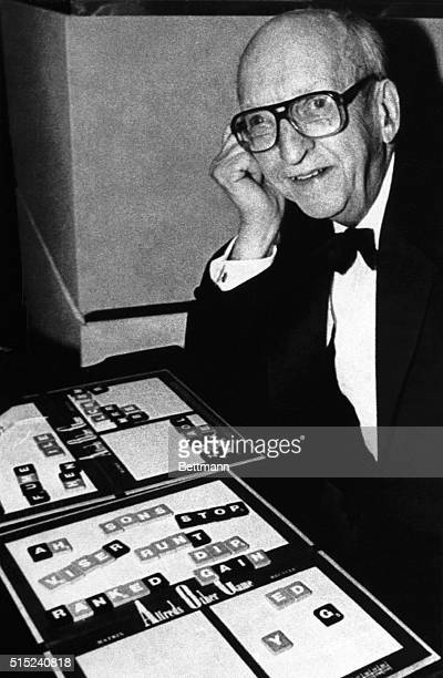 2/11/1985New York NY Alfred Butts age 84 who invented Scrabble is shown with his other game called 'Alfred's Other Game' at the American...
