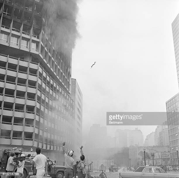 2/1/1974Sao Paulo Brazil Body of man falls through space after he jumped to his death from burning 22story Joelma Building in downtown Sao Paulo Feb...