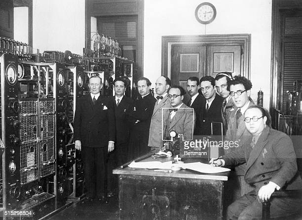 A scene in the transmitting room of the new Papal radio station in the Papal City Rome Italy which was installed under the supervision of Gugliermo...