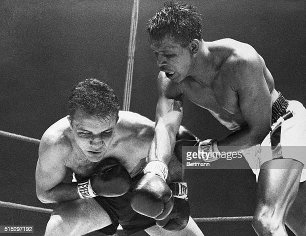 2/15/1951Chicago IL Striking with the fury of a tiger and the cunning of a fox Ray Robinson presses his attack to the head of Jake LaMotta in the...