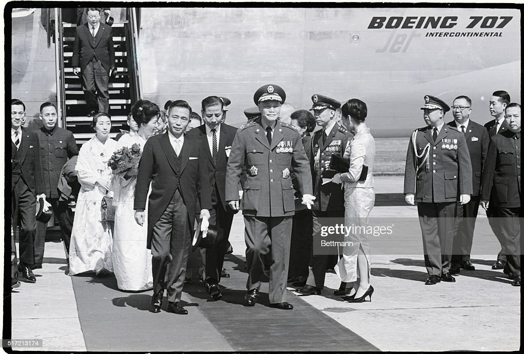 President Park Chung Hoe of the Republic of Korea and his wife are escorted by President Chiang Kaishek of Republic of China at Sungshan Military Air...