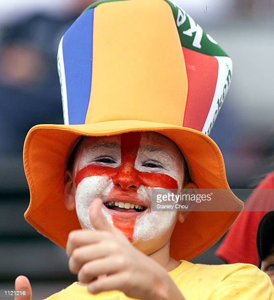 An English supporter during the Singapore Sevens Cup semifinals between England and New Zealand during the IRB World Rugby Sevens Series held at the...