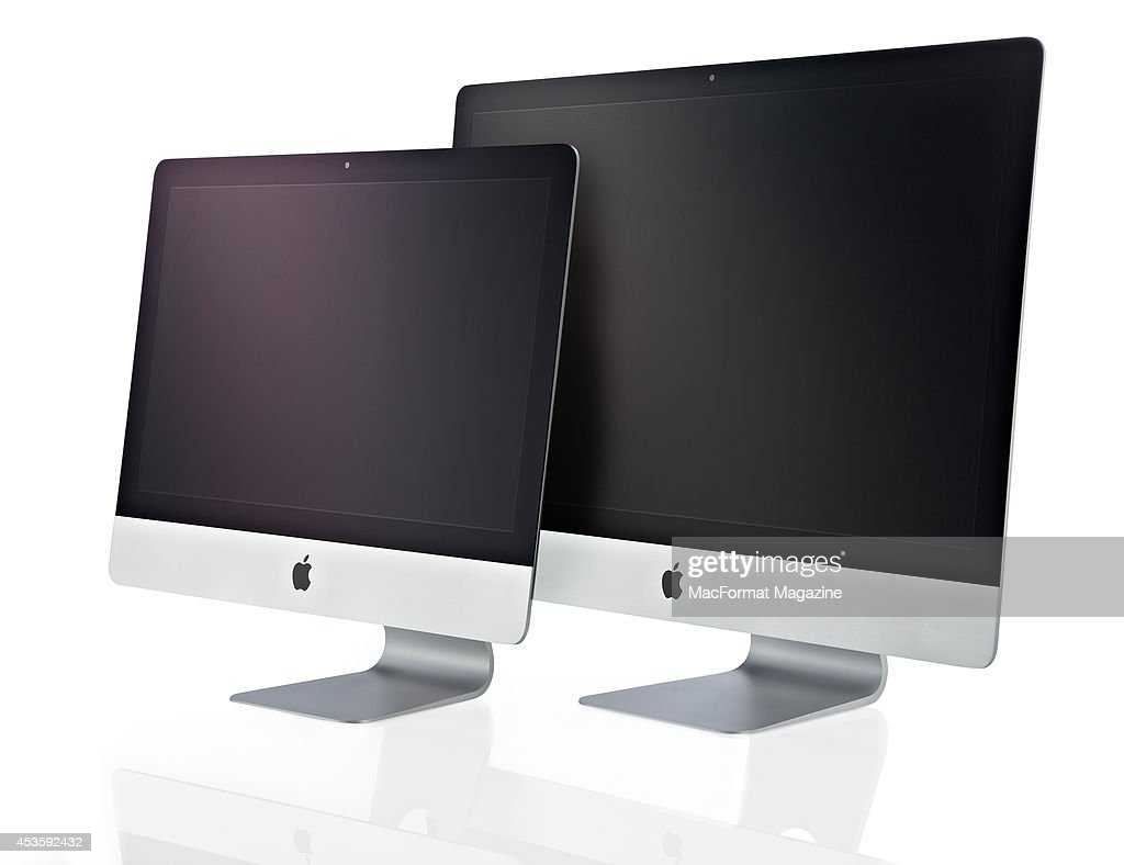 A 2013 21-inch (L) and 27-inch Apple iMac photographed on a white background, taken on October 3, 2013.