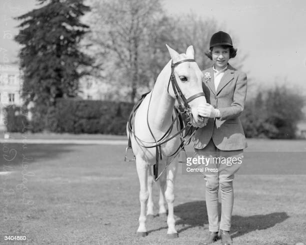 Princess Elizabeth with a pony in Windsor Great Park Berkshire