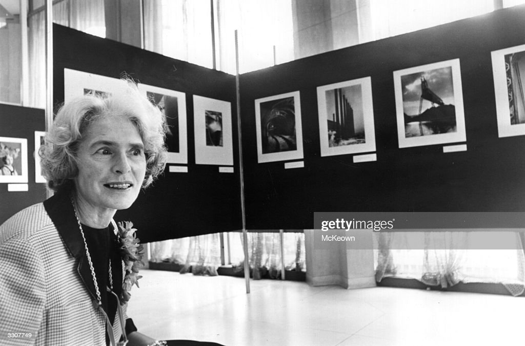 US photojournalist Margaret Bourke-White (1906 - 1971) at an exhibition.