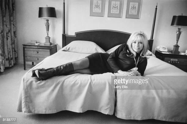 American singer Nancy Sinatra at the Hilton Hotel in London